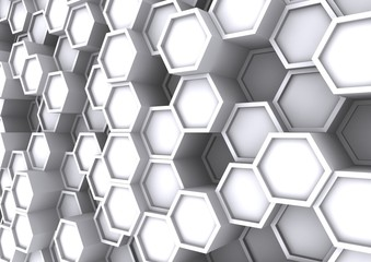 3D rendering White abstract hexagons background
