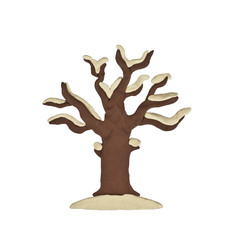 Plasticine tree winter isolated on a white background