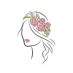 Beautiful Young Girl with a Rim with Flowers on Her Head