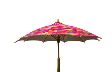 Colorful umbrella isolated on white background  clipping path.