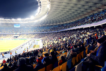 Fans watching football game at stadium