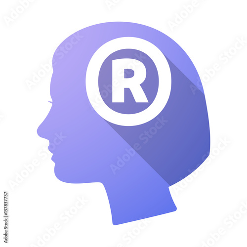 Isolated Female Head With The Registered Trademark Symbol Stock
