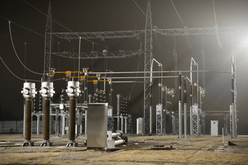 Infrastructure of electrical substation distributing renewable energy by night