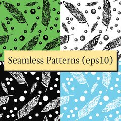 Hand drawn doodle zentangle feather set isolated from background. Vector illustration with different ornaments.