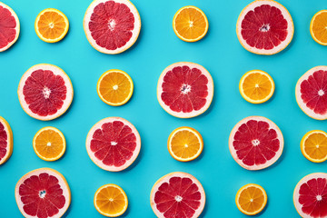 Colorful pattern of grapefruit and orange slices