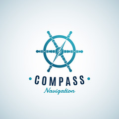 Compass Navigation Abstract Vector Sign, Emblem or Logo Template. Arrow integrated into the Steering Wheel Symbol with Retro Typography. Creative Concept.
