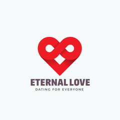 Eternal Love Abstract Vector Sign, Emblem or Logo Template. Infinity Symbol and Heart Icon Mixture. Creative Concept Silhouette.
