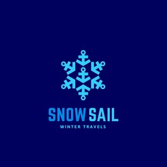 Snow Sail Winter Travels Abstract Vector Sign, Emblem or Logo Template. Snowflake Symbol made of Anchors. Creative Identity Concept.