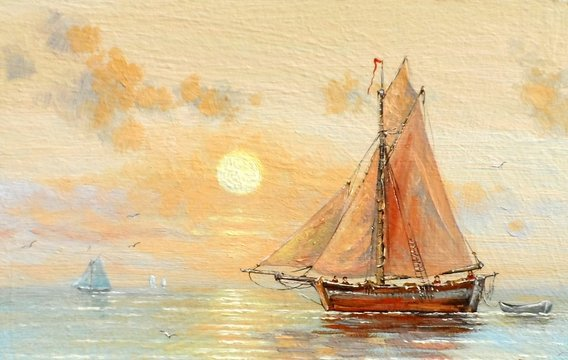 Sea, boats, fisherman, oil paintings