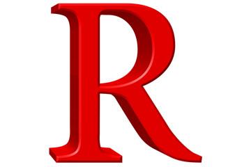 Uppercase letter R, isolated on white, 3D illustration