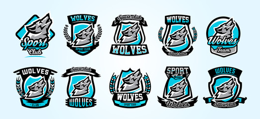 A collection of colorful logos, emblems, wolf howling at the moon, an aggressive predator of the forest. Vector illustration, vibrant and sporty style, printing on T-shirts