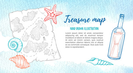 Hand drawn vector illustration - treasure map with sea shells, starfish and bottle. Design elements in sketch style. Perfect for invitations, greeting cards, posters, prints, banners, flyers.The ocean