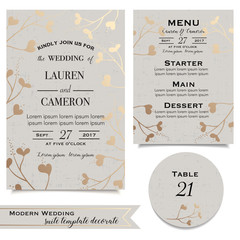 Vintage invitaion card. Wedding invitation in beige and golden shades