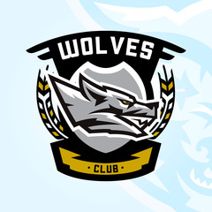 Colourful emblem, logo, sticker, aggressive wolf ready to attack, grin, growling predator. Vector illustration, sports style, printing on T-shirts.
