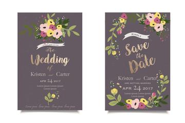 Vintage floral invitation. Wedding invitation or greeting card. Dark background