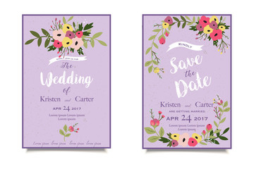 Vintage wedding invitation. Greeting card with white stylized font