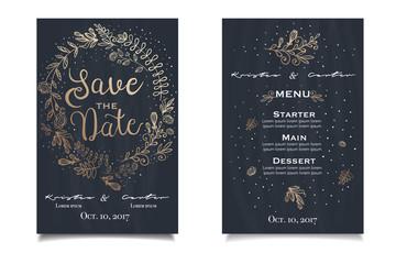 Hand drawn wedding invitatoin card with tender illustration on dark