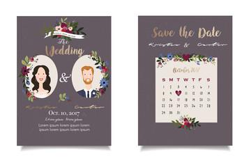 Purple grey wedding invitation with tender flowers in modern style