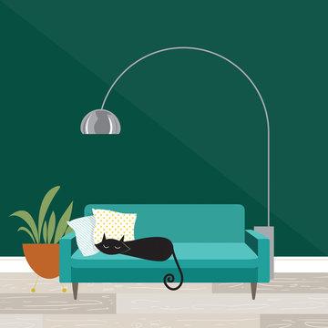 Cozy room scene with sleeping cat in mid-century modern style