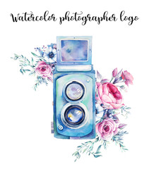 Watercolor colorful photographer logo. Vintage photo camera with bouquets of flowers, branches and berries. Hand painted isolated design. Watercolor illustration