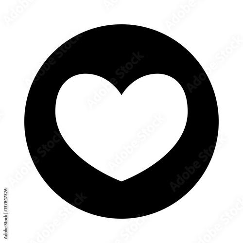 Heart Icon Black Round Icon Isolated On White Background Round