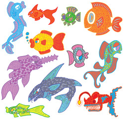 Hand Drawn Multicoloured Fish Marine Life