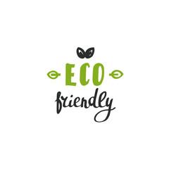 Hand drawn Eco friendly lettering. Vector Bio organic green logo template.