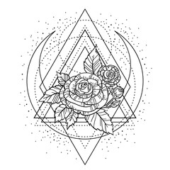 rose flower with sacred geometry frame. Tattoo, mystic symbol. Boho print, poster, t-shirt. textiles. Zen for anti stress book. Hand-drawn, retro card design. Isolated vector illustration.