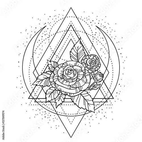 095b5ad3a8662 rose flower with sacred geometry frame. Tattoo, mystic symbol. Boho print,  poster, t-shirt. textiles. Zen for anti stress book. Hand-drawn, retro card  ...