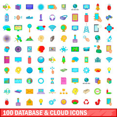 100 database and cloud icons set, cartoon style