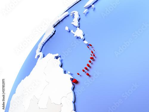 """Shinny Caribbean: """"Caribbean On Modern Shiny Globe"""" Stockfotos Und"""