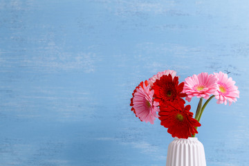 Gerbera flowers in vase on blue wood vintage background. 8 march or Valentines day love design. Fresh natural flowers. Painted wooden planks.