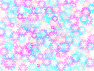 Background with light pink and blue flowers. Vector illustration.