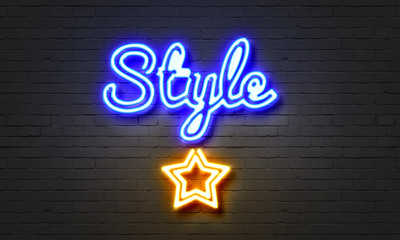 Style neon sign on brick wall background.
