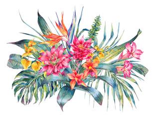 Watercolor vintage floral tropical greeting card