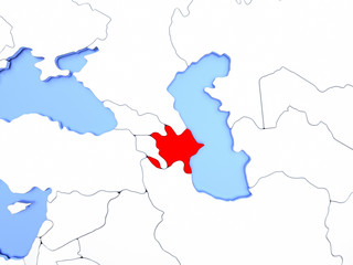 Azerbaijan in red on map