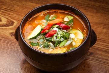eolkeun sujebi.  Spicy Handpulled Dough Soup.