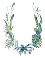 Natural leaves exotic watercolor wreath