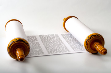Judaism and religious text concept with a Torah on white background Wall mural