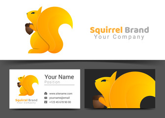Squirrel Corporate Logo and Business Card Sign Template. Creative Design with Colorful Logotype Visual Identity Composition Made of Multicolored Element. Vector Illustration