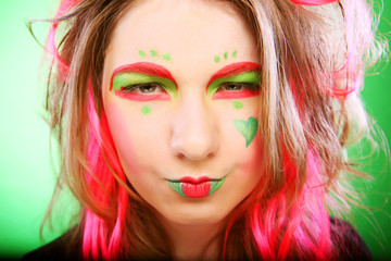 funny girl with bright make up