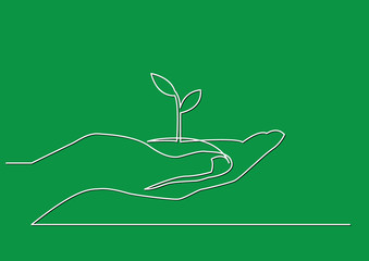 continuous line drawing of hand showing growing plant