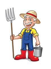Cartoon Farmer Standing
