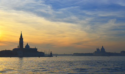 Sunset over Venice with mist