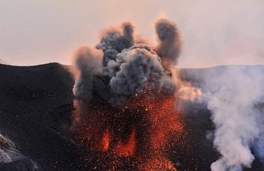 Eruption on Stromboli Volcano, Aeolian Islands, Italy, May 2009