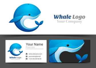 Blue Whale Corporate Logo and Business Card Sign Template. Creative Design with Colorful Logotype Visual Identity Composition Made of Multicolored Element. Vector Illustration