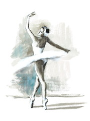 Watercolor Ballerina Hand Painted Ballet Dancer Illustration