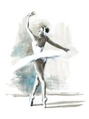 Watercolor Ballerina Hand Painted Ballet Dancer Illustration