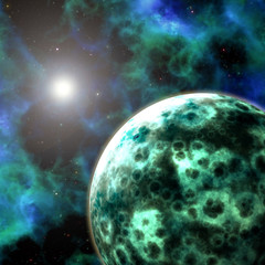 Planet and nebula in Universe