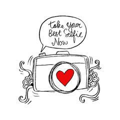 Retro photo camera with stylish lettering - Take your best selfie now-  Hand drawn illustration. Print for your t-shirt design